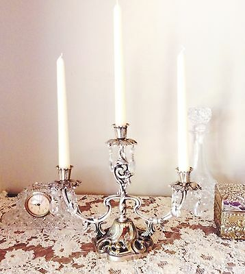 LOVELY  ANTIQUE ART NOUVEAU  SILVER PLATED CANDELABRA crystal drops