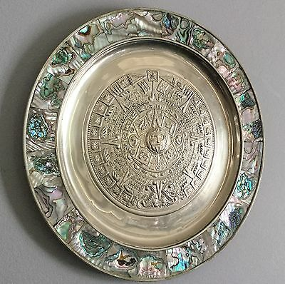Alpaca Silver Plate Aztec Calendar Plate W Inlayed Abalone Border  Mexico 11""