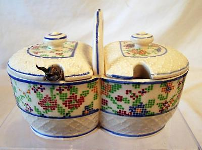 Vintage Double Sided Condiment Bowl Jelly Marmalade Breakfast Set with Spoon