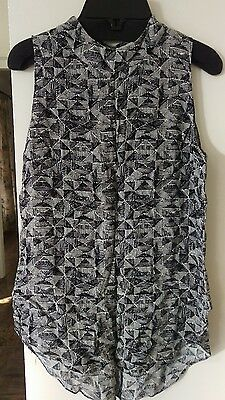 Veronika Maine blouse, size 6, black & white, great pre loved condition