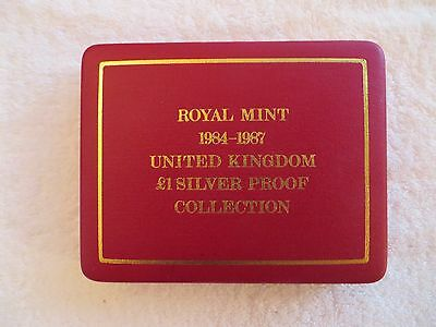 Royal Mint 1984-1987 UK 1 Pound Silver Proof Collection