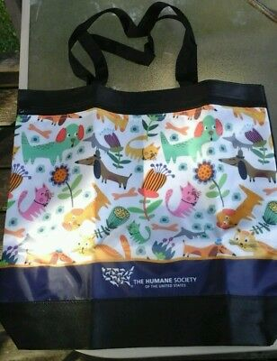 New Zippered The Humane Society Reusable Shopping Tote Bag Eco Friendly Cats/dog