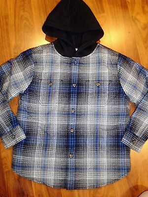 SZ 7 8 Gymboree Black Blue Plaid Flannel Hooded Quilted Jacket Boy New NWT