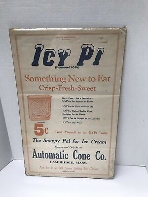 "OLD 19"" Icy Pi 5 CENT ADVERTISING SIGN Automatic Cone Co. CARDBOARD"