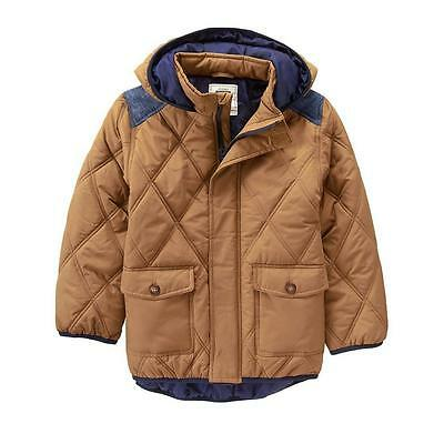SZ 5 6 Gymboree Camel Brown Blue Hooded Quilted Coat Jacket Boy New NWT