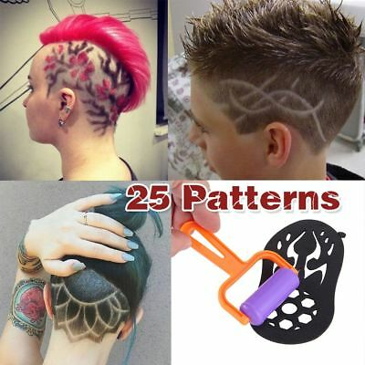 25Pcs Hair Stencils Hair Styling Trimmer Hair Coloring Tattoo Hair With Roller