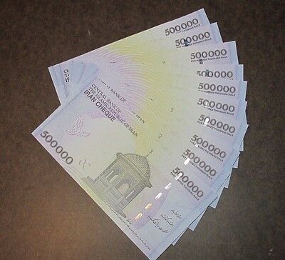 LOT of  10X 500,000 Rials Crisp-Uncirculated, Iranian Genuine Currency