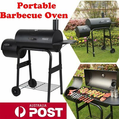 2in1 Charcoal Smoker BBQ Grill Roaster Portable Steel Steamer Charcoal Oven OKO