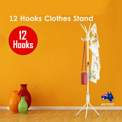 12 Hook Coat Hanger Stand Hat Clothes Rack 3-Tier Metal Tree Style Storage White