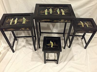 Vintage Oriental Mother Of Pearl 4 Asian Nesting Tables Black Lacquer