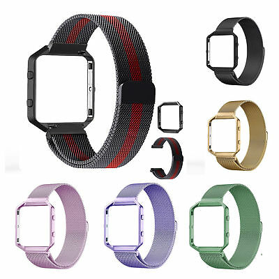 Metal Frame+Milanese Loop Stainless Steel Strap Wrist band For Fitbit Blaze