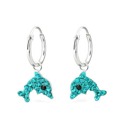 Girls Sterling Silver Turquoise Blue Dolphin Hoop Earrings Sleepers Children 925
