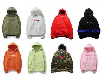 Mens SUPREME Hooded Sweatshirt Hip Hop Embroidered Hoodie unisex Sweats Pullover
