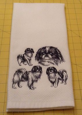 JAPANESE CHIN  COLLAGE SKETCH Embroidered Kitchen Hand Towel 100% cotton