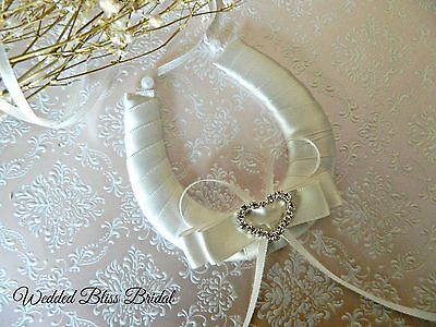 Wedding Bridal Horseshoe -Ivory  Satin -Diamante Heart - Gift Pouch