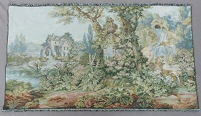 Large Vintage French Estate Tapestry Villa Watermill Garden Cherubs Fountain 48""