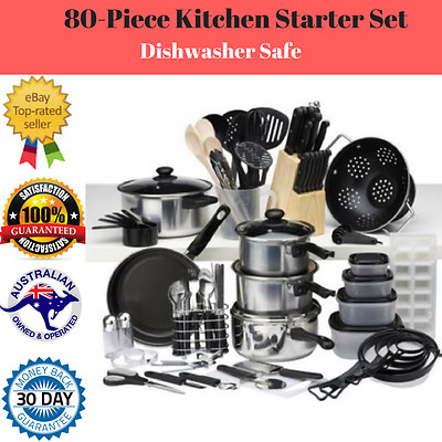NEW 80 Piece Kitchen Starter Set - Great Quality - Cookware - Knives + More