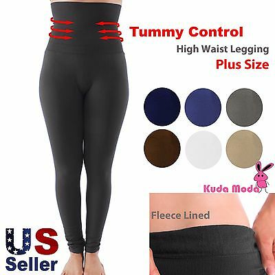Women High Waist Fleece Lined Thick Brushed Footless Leggings Pants Plus Size