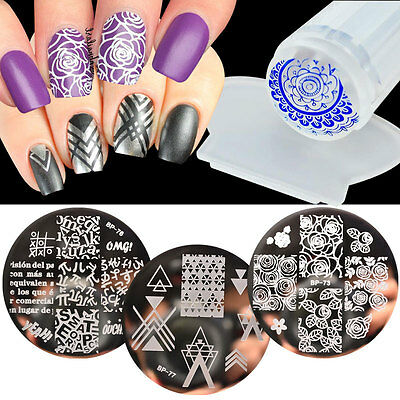 4pcs/set Nail Art Image Stamping Template Stencil Plate Stamper DIY BORN PRETTY