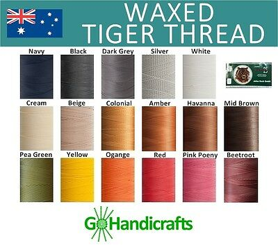 JULIUS KOCH WAXED TIGER THREAD for HAND SEWING LEATHER CRAFT STRONG LAYS FLAT