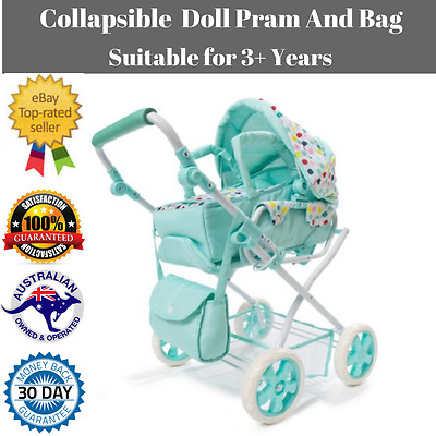 Spot Doll Pram  Bag Set of 3 Baby Mint Green Stroller Play Pretend Toy Playset .