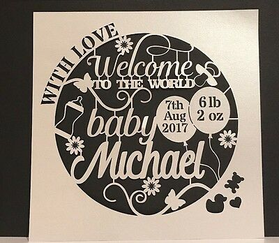 Welcome to the World Personalised Any Name New Baby papercut card topper