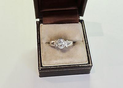 WHITE TOPAZ--STERLING SILVER 925 ENGAGEMENT VINTAGE RING. (Sz 7)