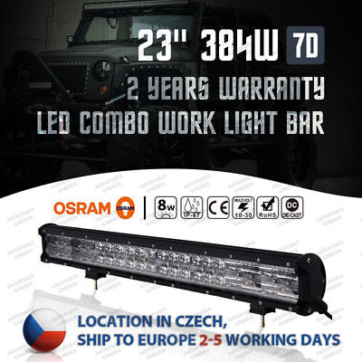 7DS OSRAM 384W 23inch FLOOD SPOT LED Work Light Bar Offroad Driving Lamp 4WD SUV