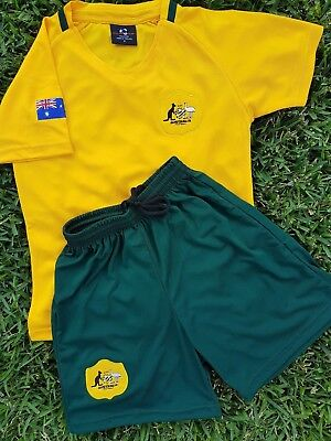 Soccer AUSTRALIA JERSEY & SHORTS KIDS Football In 6 Sizes 4,6,8,10,12,14  NEW