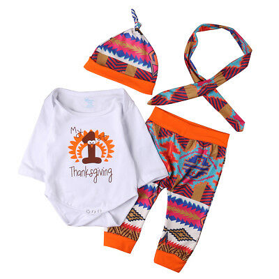 Newborn Baby Boys Girls Thanksgiving Clothes Tops Romper Pants Hat 4PCS Outfits
