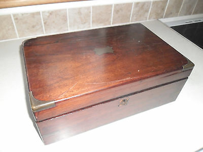Antique Brassbound Wooden Writing Slope complete with key in need of some repair