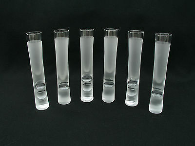 """Set Of (6) 7 1/2"""" Tall Shot Glasses - Frosted W/ Finger & Thumb Grips - Awesome"""