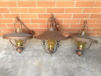 3 x VINTAGE 1970s RETRO ARTDECO CATHEDRAL STYLE CEILING PENDANT LIGHTS