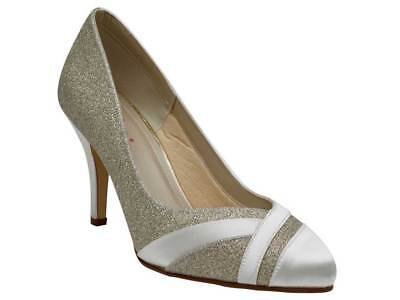 Rainbow Club Mila Ivory Satin Women Wide Fit Wedding Shoe Uk Size 3 8