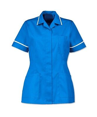 Nurses Healthcare Tunic, Dental Nhs Salon Hospital Blue With White Trim. Ins32Hb