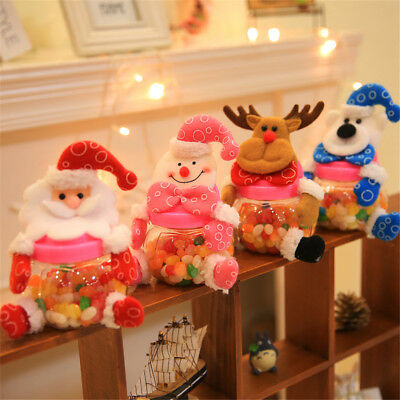 Snowman Christmas Santa Candy Filler Storage Bottle Xmas Party Decor Box Gift