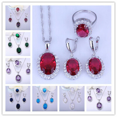 NEW Jewelry set Ruby CZ 925 Silver Fashion Necklace Pendant+earring+Ring