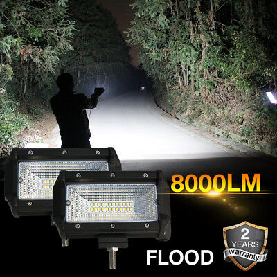 Pair 5inch 288W CREE LED Work Light Bar Flood Beam Off road 4WD Driving Lamp ATV
