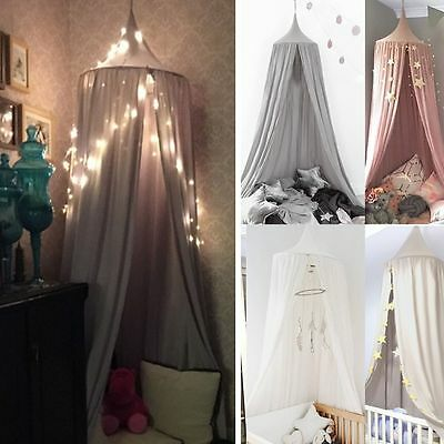 Kids/Baby Bedding Cotton Round Dome Bed Canopy Netting Bedcover Mosquito Net AU