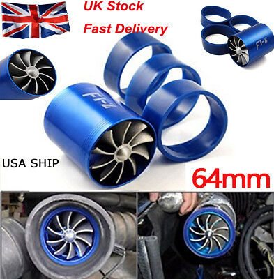 New BLUE SUPERCHARGER DUAL TURBONATOR AIR INTAKE FUEL SAVER TURBO CHARGER FAN
