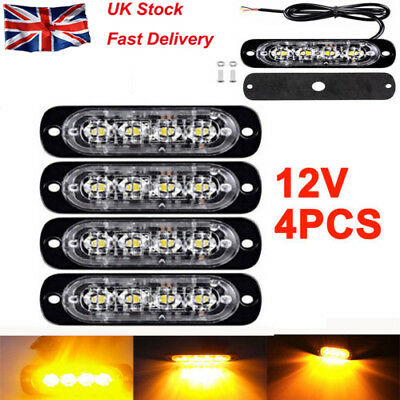 4X Amber 4 LED Car Truck Emergency Beacon Warning Hazard Flash Strobe Light Bar