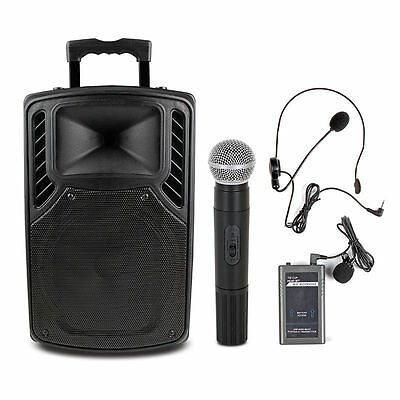 "300W 12"" PA System Speaker Bluetooth USB Wireless handheld Mic AUX Guitar in"