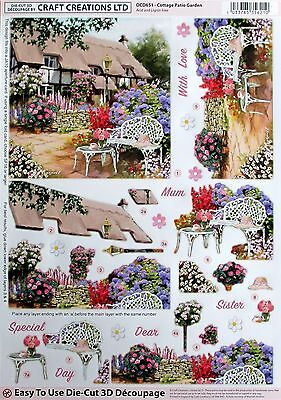 "A4 Die Cut 3D Paper Tole Decoupage "" Cottage Patio Garden"" Sheet Dcd651"