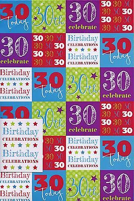 Male Female 30Th Birthday 2 Sheets Of Gift Wrap Wrapping Paper +1 Tag 1Stp&p
