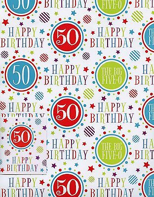 Female Male 50Th Birthday 2 Sheets Of Gift Wrap Wrapping Paper +1 Tags 1Stp&p
