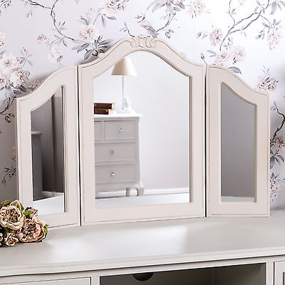 Grey Triple Dressing Table Mirror Shabby Vintage Chic French Vanity Home Bedroom