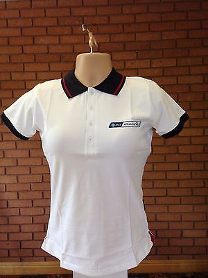 Williams at&t F1 Official Ladies white Polo  Shirt  Formula One Racing Team F1
