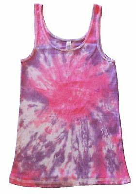 Spiral Tie Dye Singlet 100% Cotton Medium Pink Purple Handmade Unique Shirt