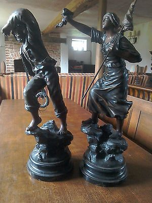 Mestais antique spelter figures en detresse and sauveteur