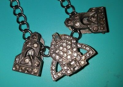 Stunning Antique/Vintage Necklace with 3 Shoe/Fur clips hanging!